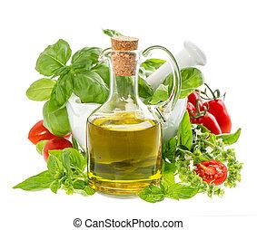 aceite, Mediterráneo, hierbas, botella, aceituna, fresco