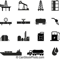 aceite, negro, iconos