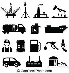 aceite, petróleo, y, gasolina, iconos