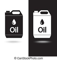 aceite, plano de fondo, vector, negro, jerrycan, blanco, icono