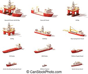 aceite, poly, vector, exploración, bajo, costa afuera, naves