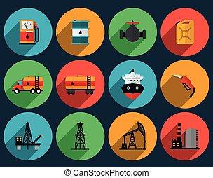 aceite, producción, conjunto, vector