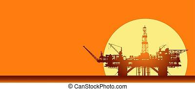 aceite, rig., ocaso, costa afuera, mar, taladrar plataforma