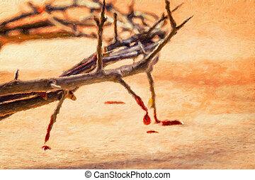 aceite, suffering., pintura, espinas, effect., cristiano, dripping., sangre, concepto, corona