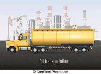 aceite, transporte, amarillo, realista, camión, composición
