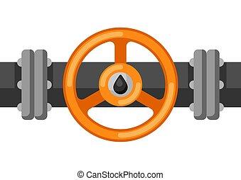 aceite, valve., ilustración, tubo