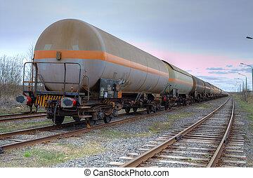 aceite, y, combustible, transporte, por, carril