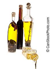 aceite, y, el, botella