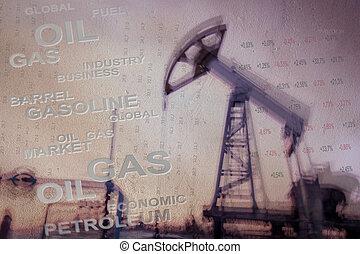 aceite y gas, industria, fondo.