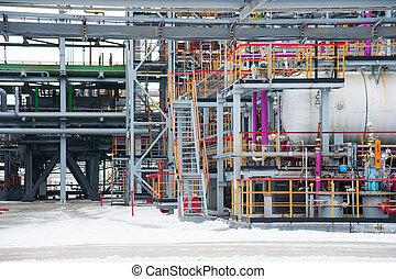 aceite y gas, industrial., refinería de petróleo, planta, forma, industria