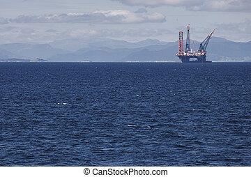 aceite y gas, plataforma cercana costa, en, norway., industria de la energía
