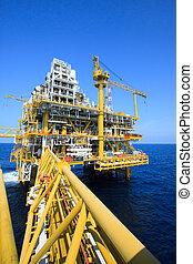 aceite y gas, plataforma, en, costa afuera