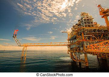 aceite y gas, plataforma, en, costa afuera, o