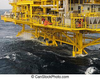 aceite y gas, plataforma, en, el golfo