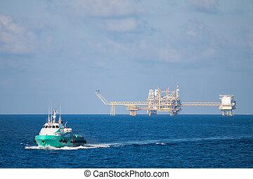 aceite y gas, plataforma, en, el golfo, o