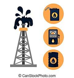 aceite, y, petróleo, industria, diseño