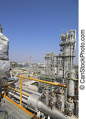 aceite, y, químico, planta industrial