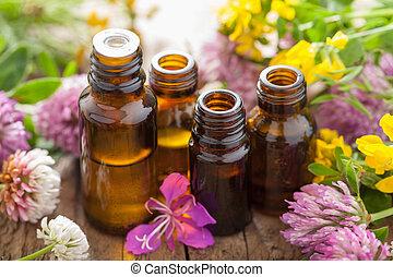 aceites, flores, esencial, hierbas, médico