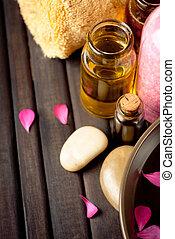 aceites, productos, esencial, baño