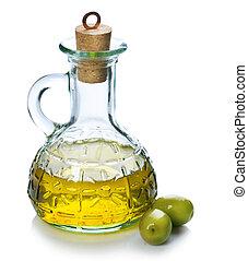 aceituna, aceitunas, aceite, encima, blanco