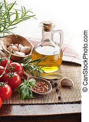 aceituna, botella, tomates