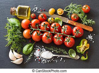 aceituna, Cereza, hierbas, aceite, tomates