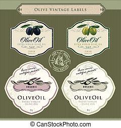 aceituna, etiquetas, conjunto, aceite
