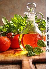 aceituna, vegetales, aceite, botella