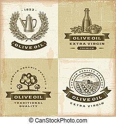 aceituna, vendimia, etiquetas, conjunto, aceite