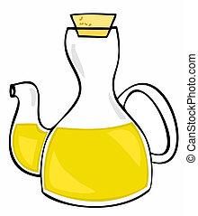 aceituna, vidrio, cork., aceite, botella