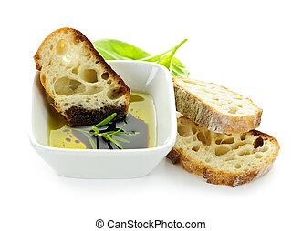 aceituna, vinagre, aceite, bread