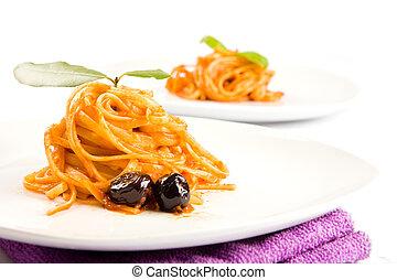 aceitunas, alla, -, sause, tomatoe, pastas, puttanesca, ...