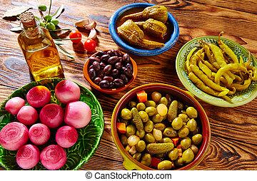 aceitunas, cebolla, tapas, mezcla, berenjena, chile, ...