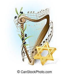 aceitunas, estrella, notas, david, musical, arpa