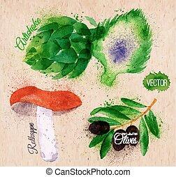 aceitunas, vegetales, acuarela, alcachofas, papel, negro,...