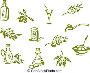 aceitunas verdes, aceite, orgánico