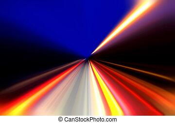 aceleração, movimento, velocidade, estrada, noturna