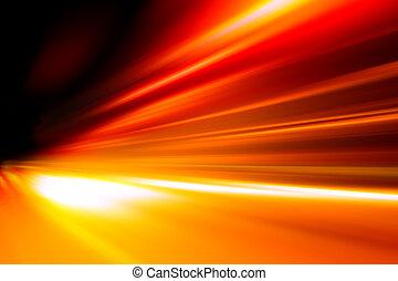 aceleração, velocidade, movimento, ligado, noturna, estrada