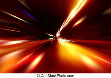 aceleración, resumen, movimiento, noche, velocidad, camino