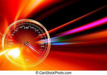 aceleración, velocímetro, en, noche, camino