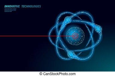 acelerador, asunto, molecular, átomo, concepto, ciencia, partícula, moderno, vector, 3d, física, design., atómico, símbolo, micro, potencia, laboratorio, collider., análisis, ilustración, investigación