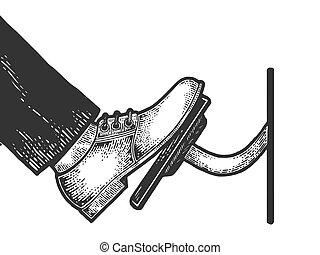 acelerador, camiseta, pie, negro, rasguño, coche, ropa, blanco, imitation., prensas, pedal, dibujado, mano, grabado, image., tabla, válvula reguladora, estilo, vector, illustration., design., bosquejo, impresión