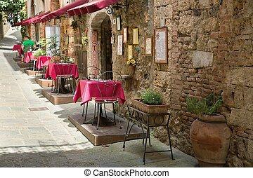acera, típico, toscana, escena, restaurante