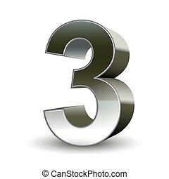 acero, 3, 3d, número, plata