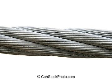 acero, aislado, cable