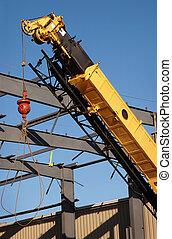 acero, auge, amarillo, estructural