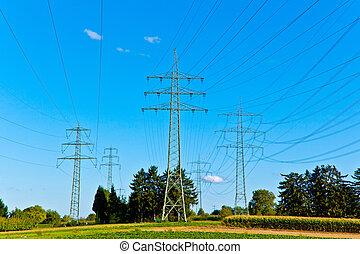 acero, azul, electricidad, cielo, brillante, pilón