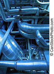 acero, azul, industrial, instalación, zona, tonos, tuberías...
