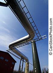 acero, azul, industrial, tuberías, cielo, contra, zona,...