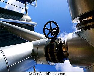 Acero, azul,  industrial, tuberías, cielo, contra, zona, válvulas